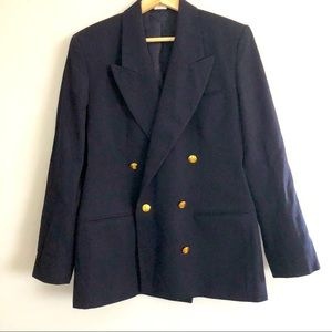 Austin Reed Navy Wool Double Breasted Blazer